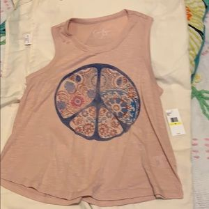 JESSICA SIMPSON GRAPHIC PEACE SIGN TEE TANK SZ M